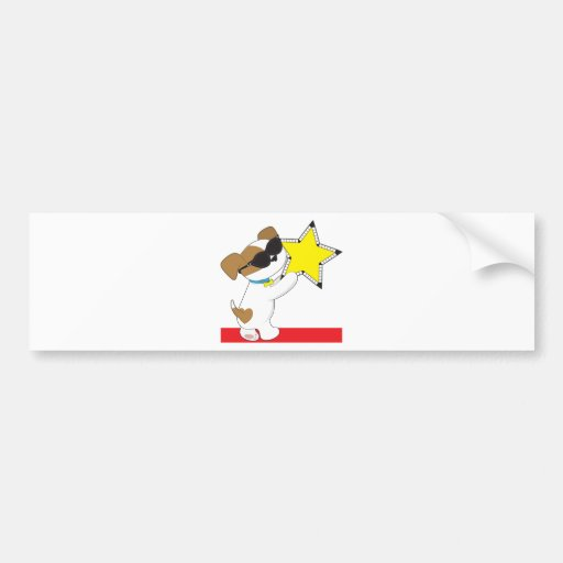 Cute Puppy Star Car Bumper Sticker