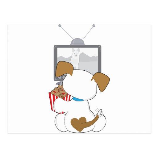 Cute Puppy TV Postcard