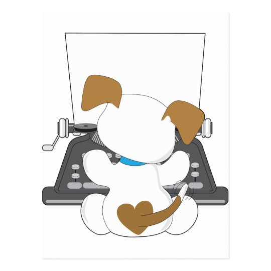 Cute Puppy Typewriter Postcard