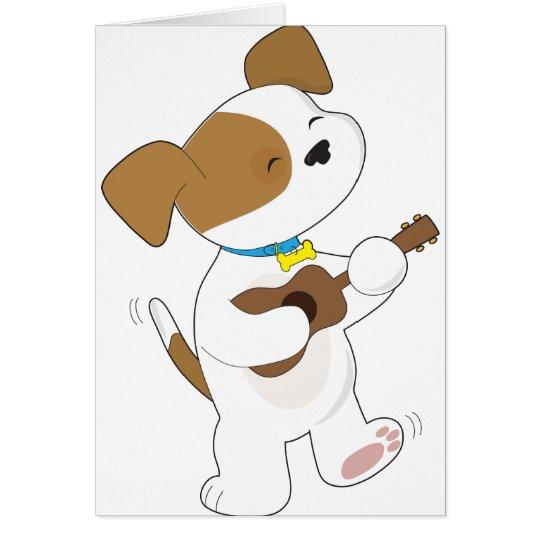 Cute Puppy Ukulele Card