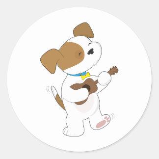 Cute Puppy Ukulele Classic Round Sticker