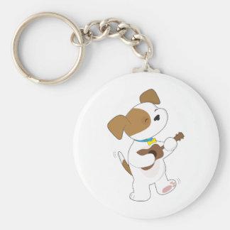 Cute Puppy Ukulele Basic Round Button Keychain