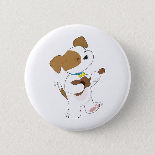 Cute Puppy Ukulele Pinback Button