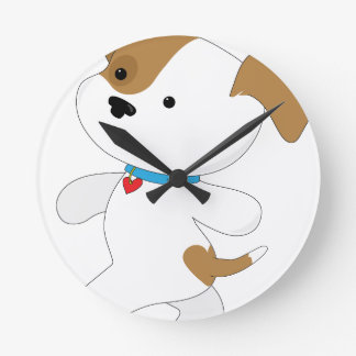 Cute Puppy Walker Round Clock
