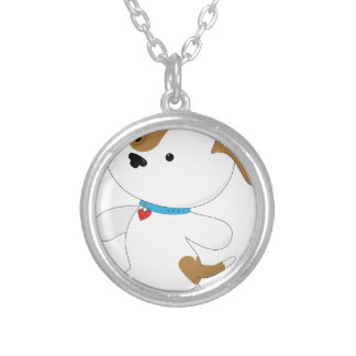 Cute Puppy Walker Silver Plated Necklace