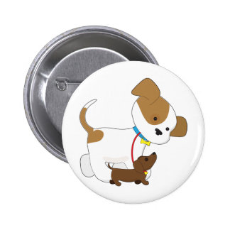 Cute Puppy Walking a Pup Pinback Buttons