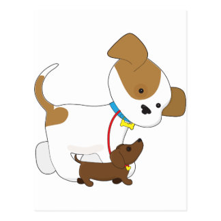 Cute Puppy Walking a Pup Post Cards