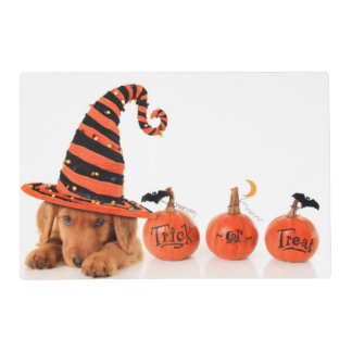 Cute Puppy Wearing A Halloween Witch Hat Placemat