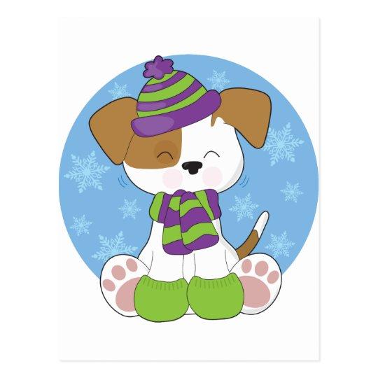 Cute Puppy Winter Postcard
