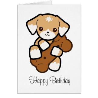 Cute Puppy With a Big Bone Birthday Card