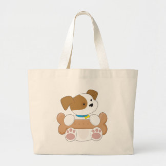 Cute Puppy With a Snack Large Tote Bag