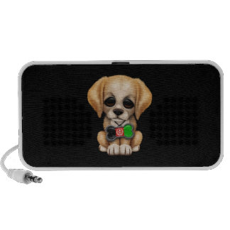 Cute Puppy with Afghan Flag Dog Tag, black Speaker System