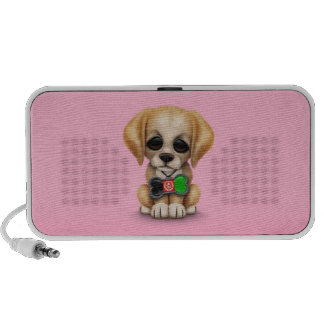 Cute Puppy with Afghan Flag Dog Tag, pink Notebook Speakers