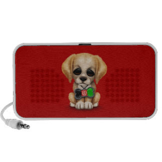 Cute Puppy with Afghan Flag Dog Tag, red PC Speakers