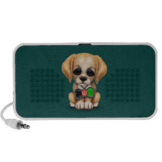 Cute Puppy with Afghan Flag Dog Tag, teal Speaker