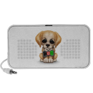 Cute Puppy with Afghan Flag Dog Tag, white iPhone Speakers