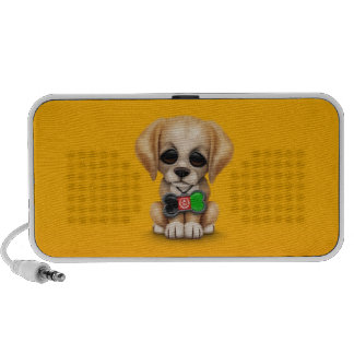 Cute Puppy with Afghan Flag Dog Tag, yellow Travel Speakers
