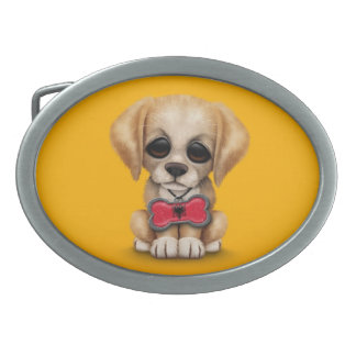 Cute Puppy with Albanian Flag Pet Tag, yellow Belt Buckle
