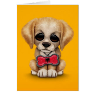 Cute Puppy with Albanian Flag Pet Tag, yellow Card