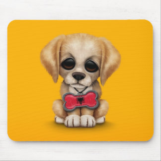 Cute Puppy with Albanian Flag Pet Tag, yellow Mouse Pad
