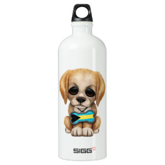 Cute Puppy with Bahamas Flag Dog Tag Water Bottle