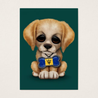 Cute Puppy with Barbados Flag Dog Tag, teal Business Card