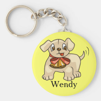 Cute Puppy with Bell Basic Round Button Keychain