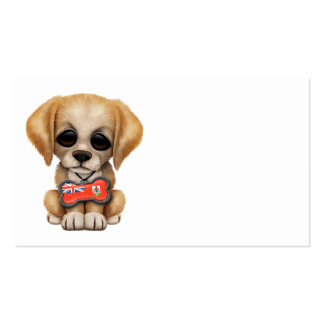 Cute Puppy with Bermuda Flag Dog Tag Business Cards