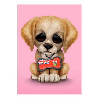 Cute Puppy with Bermuda Flag Dog Tag, pink Business Card Template