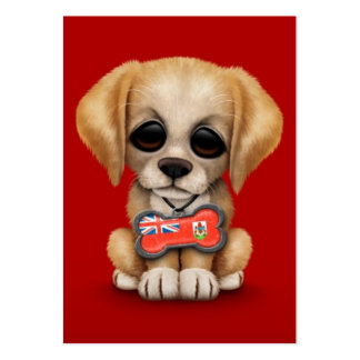 Cute Puppy with Bermuda Flag Dog Tag, red Business Card Template