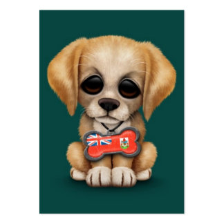 Cute Puppy with Bermuda Flag Dog Tag, teal Business Card