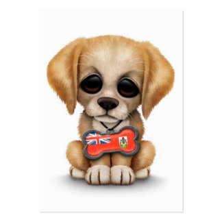 Cute Puppy with Bermuda Flag Dog Tag, white Business Card Template