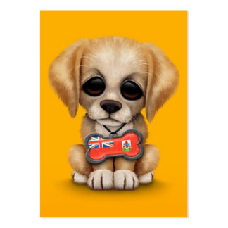 Cute Puppy with Bermuda Flag Dog Tag, yellow Business Card Templates