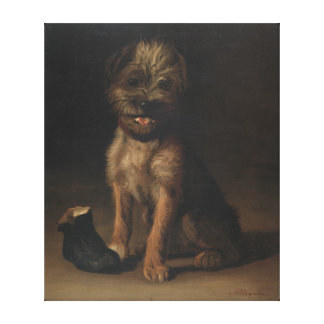 Cute Puppy With Boot Painting by FW Rogers Canvas Print