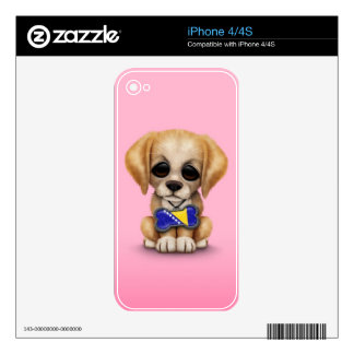 Cute Puppy with Bosnia-Herzegovina Flag Tag, pink Skins For The iPhone 4