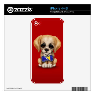 Cute Puppy with Bosnia-Herzegovina Flag Tag, red Decals For The iPhone 4