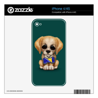 Cute Puppy with Bosnia-Herzegovina Flag Tag, teal iPhone 4 Skin