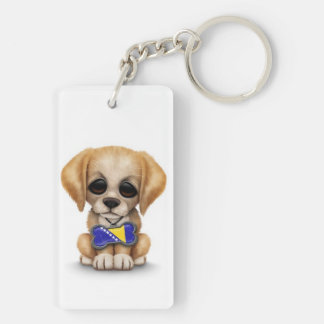 Cute Puppy with Bosnia-Herzegovina Flag Tag, white Keychain