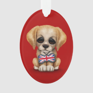 Cute Puppy with British Flag Pet Tag, Red