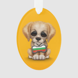 Cute Puppy with Bulgarian Flag Dog Tag, yellow Ornament