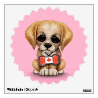 Cute Puppy with Canadian Flag Bone Tag, Pink Wall Decal