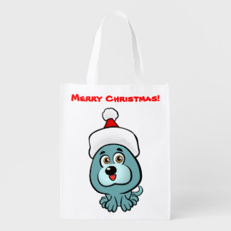 Cute Puppy With Christmas Hat Cartoon Grocery Bags