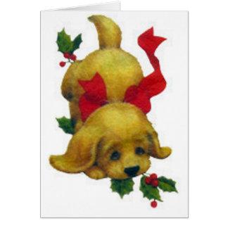 Cute Puppy with Christmas Holly Custom Card