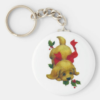 Cute Puppy with Christmas Holly Keychain