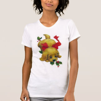 Cute Puppy with Christmas Holly T-Shirt