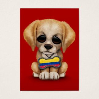 Cute Puppy with Colombian Flag Dog Tag, red Business Card