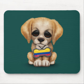 Cute Puppy with Colombian Flag Dog Tag, teal Mouse Pad