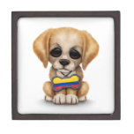 Cute Puppy with Colombian Flag Dog Tag, white Premium Trinket Box
