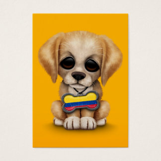 Cute Puppy with Colombian Flag Dog Tag, yellow Business Card