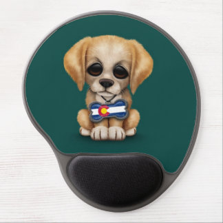 Cute Puppy with Colorado Flag Dog Tag, teal Gel Mouse Pad